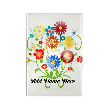Personalized floral light Rectangle Magnet (100 pa