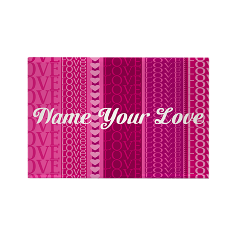 Name Your Love Pink Hearts Rectangle Magnet (100 p