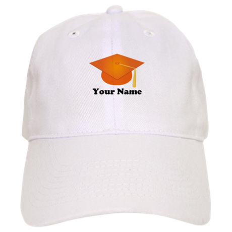Personalized Orange Graduation Hat Cap