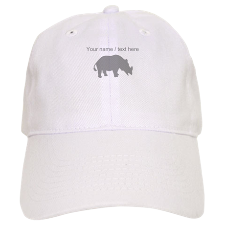 Personalized Grey Rhino Silhouette Baseball Cap