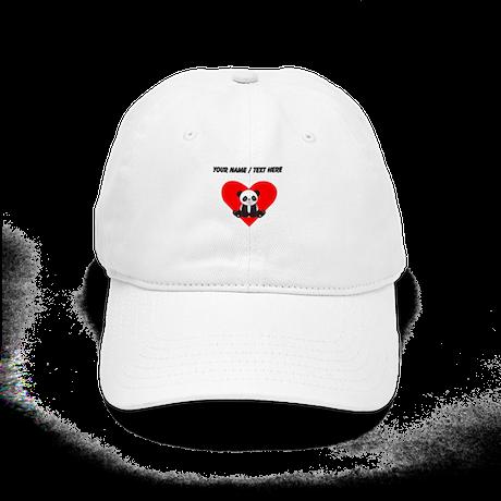 Custom Cute Panda Heart Baseball Cap