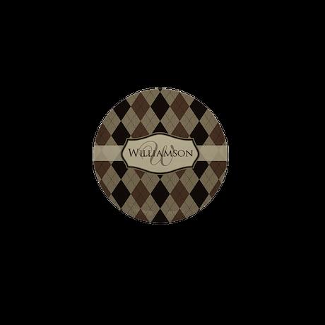 Brown Argyle Monogram Name Mini Button (10 pack)