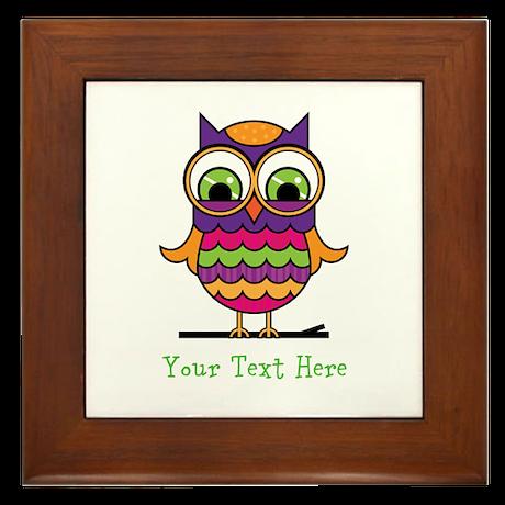 Customizable Whimsical Owl Framed Tile