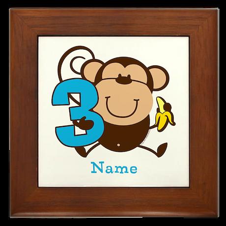 Personalized Monkey Boy 3rd Birthday Framed Tile
