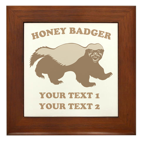 Personalize Honey Badger Framed Tile