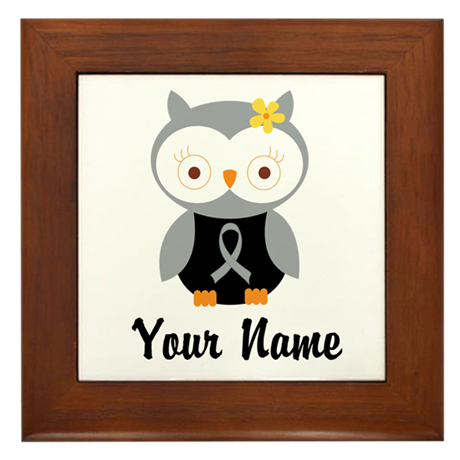 Personalized Gray Ribbon Owl Framed Tile