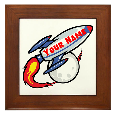 Personalized rocket Framed Tile