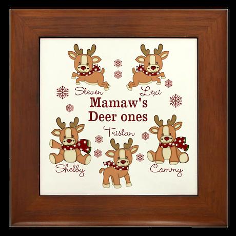 Custom deer grand kids Framed Tile