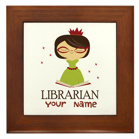 Personalized Library Lady Framed Tile