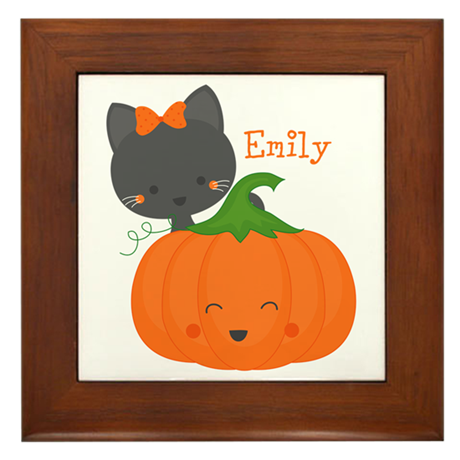 Kitty and Pumpkin Personalized Framed Tile
