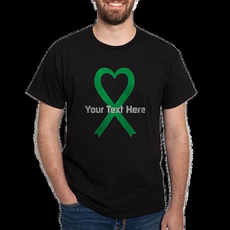 Personalized Green Ribbon Heart Dark T-Shirt