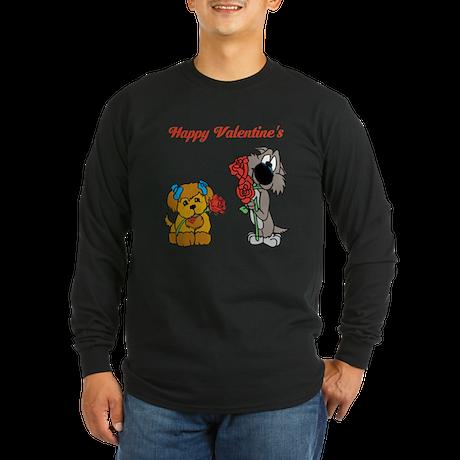 Valentines Day Dogs. Long Sleeve Dark T-Shirt