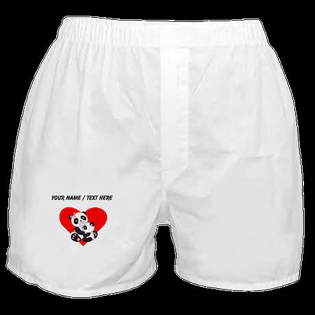 Custom Panda Baby And Mother Heart Boxer Shorts