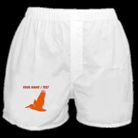 Custom Orange Pelican Silhouette Boxer Shorts
