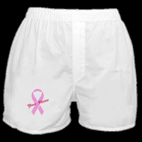 Custom Pink Ribbon Boxer Shorts