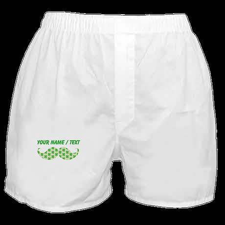 Custom Irish Shamrocks Mustache Boxer Shorts