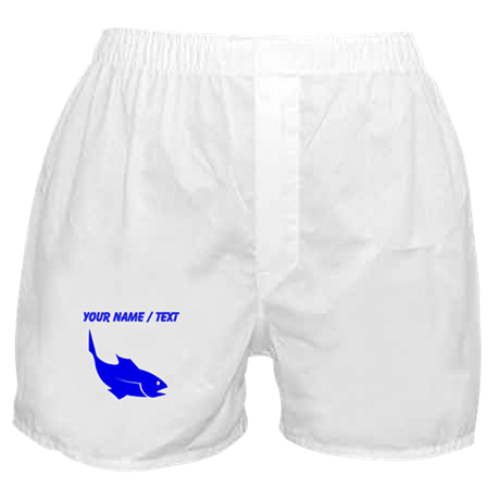 Custom Blue Trout Silhouette Boxer Shorts