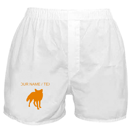 Custom Orange Fox Silhouette Boxer Shorts