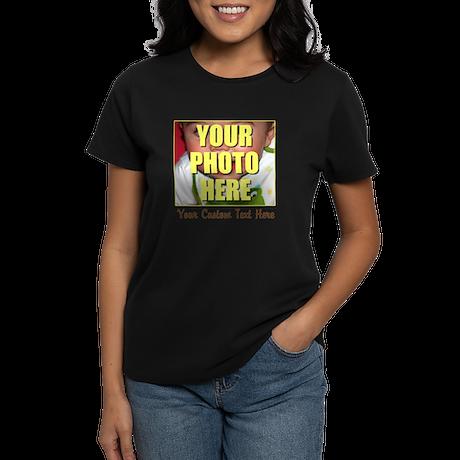 Custom Photo and Text Women's Dark T-Shirt