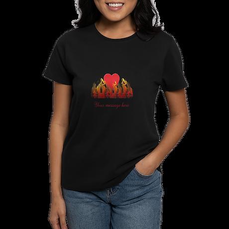 Flaming Heart Women's Dark T-Shirt