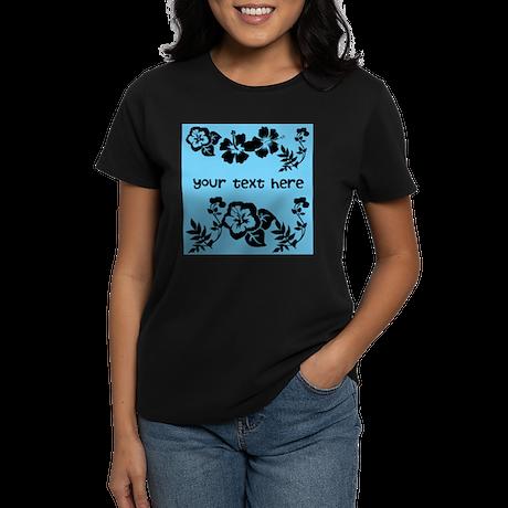Floral Customizable Women's Dark T-Shirt