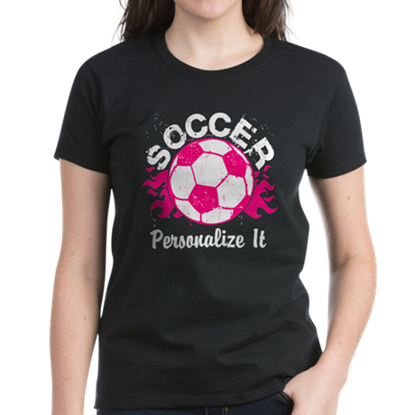 Personalized Soccer Flames Women's Dark T-Shirt