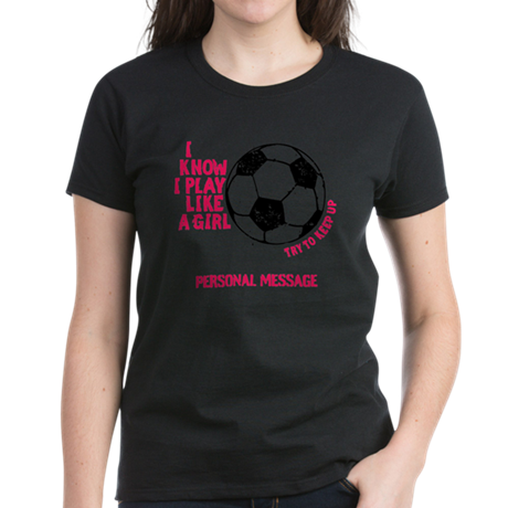 Personalized Soccer Girl Women's Dark T-Shirt