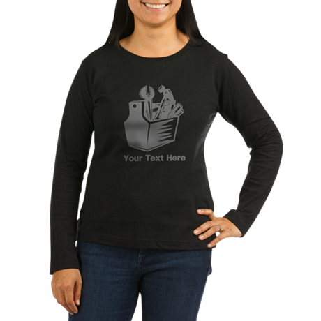 Tool box. Custom Text. Women's Long Sleeve Dark T-