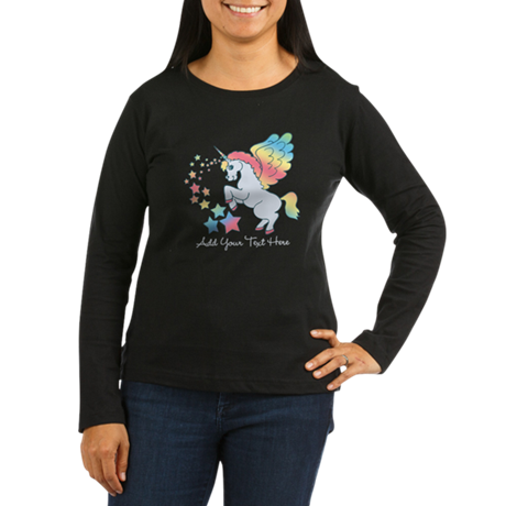 Unicorn Rainbow Star Women's Long Sleeve Dark T-Sh