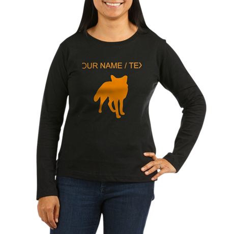 Custom Orange Fox Silhouette Long Sleeve T-Shirt