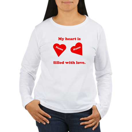 Personalized My Heart Filled Women's Long Sleeve T