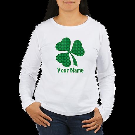 Personalized Irish Shamrock Women's Long Sleeve T-