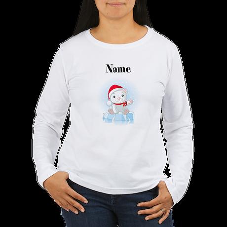 Personalized Polar Bear Womens Long Sleeve T-Shirt
