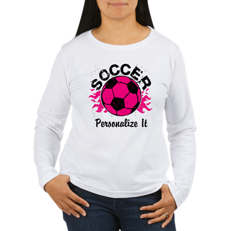 Personalized Soccer Flames Women's Long Sleeve T-S