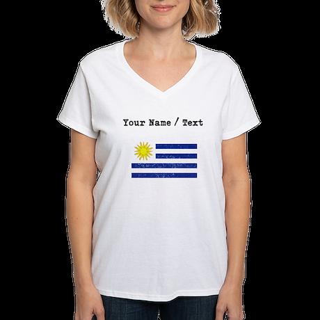 Custom Distressed Uruguay Flag T Shirt By Worldwideflags