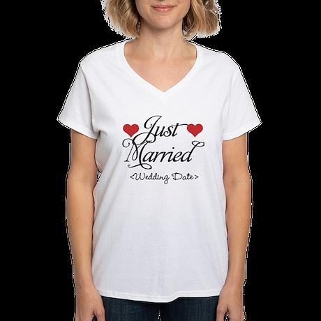 Just Marrried (Add Wedding Date) Women's V-Neck T-