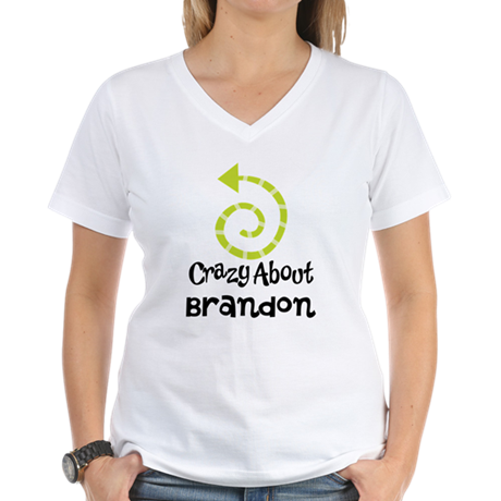 Personalized Couples Crazy Women's V-Neck T-Shirt