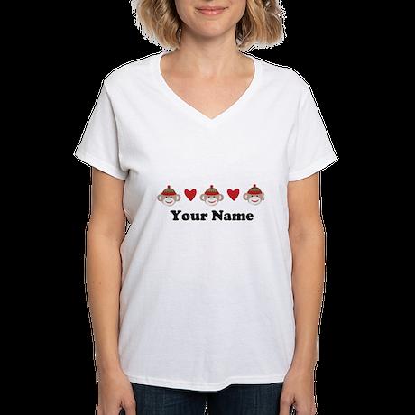 Personalized Sock Monkey Women's V-Neck T-Shirt