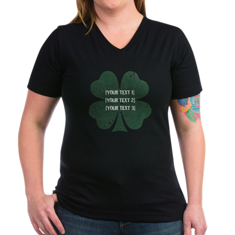 [Your text] St. Patrick's Day Women's V-Neck Dark