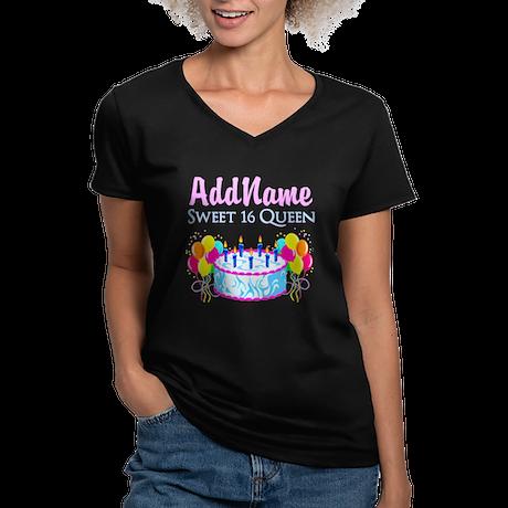 AWESOME 16TH Women's V-Neck Dark T-Shirt
