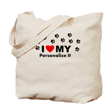 Personalized I Love My Pet Tote Bag
