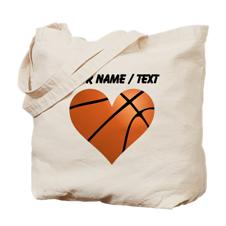Custom Basketball Heart Tote Bag