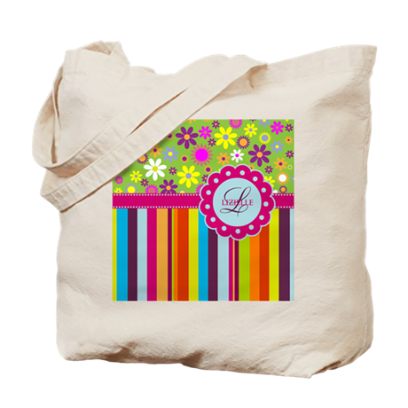 Custom Name Flower Background Tote Bag