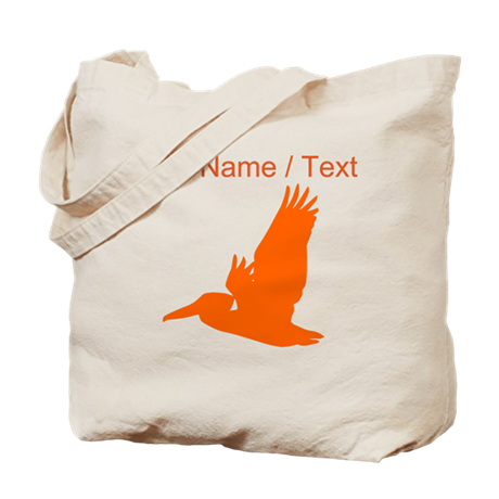 Custom Orange Pelican Silhouette Tote Bag