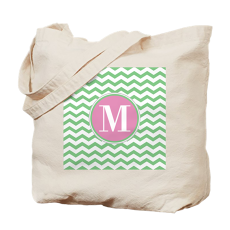 Any Letter, Pink and Green Chevron Monogr Tote Bag