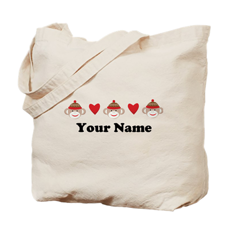 Personalized Sock Monkey Tote Bag