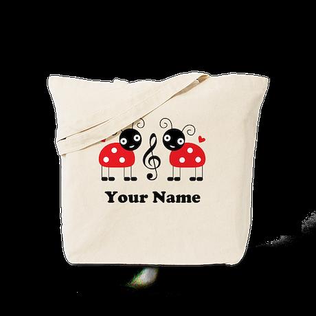 Personalized Music Ladybug Tote Bag