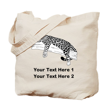 Leopard. Custom Text. Tote Bag