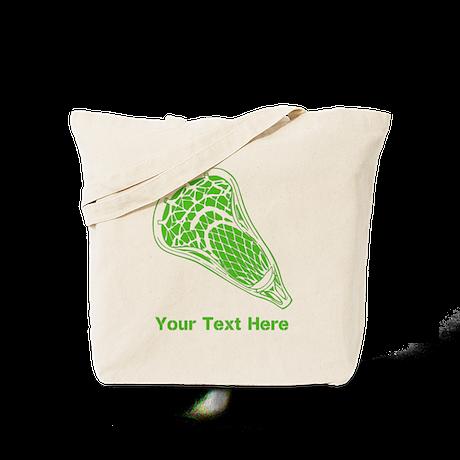 Lacrosse Crosse. Green Text. Tote Bag