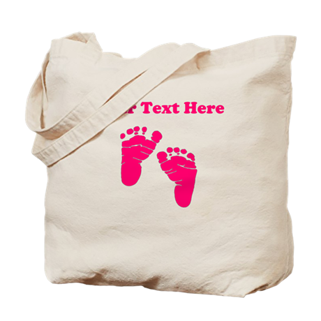 Baby Feet Pink Personalized Tote Bag